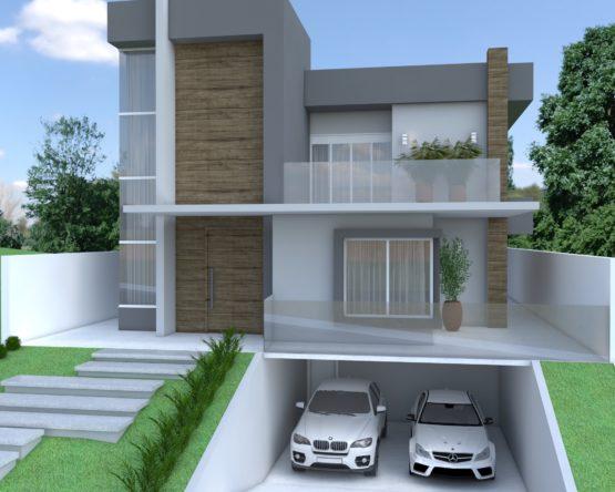 Residencia moderna com 3 pavimentos, com garagem no subsolo