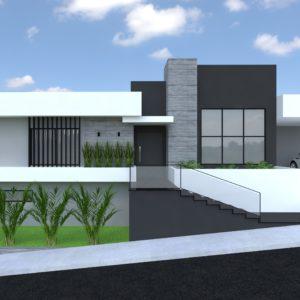 Residencia moderna de esquina com 1 pavimento e subsolo.