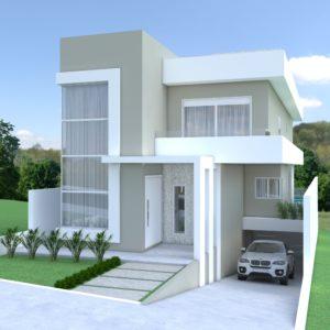 Residencia moderna com 2 pavimentos, garagem no subsolo, piscina, 1 suite e 2 quartos, sala, cozinha, churrasqueira e amplo terreno.