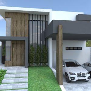 Residencia moderna industrial. 2 pavimentos, terreno amplo, ampla area de lazer, churrasqueira integrada a casa, cozinha e salas amplas.